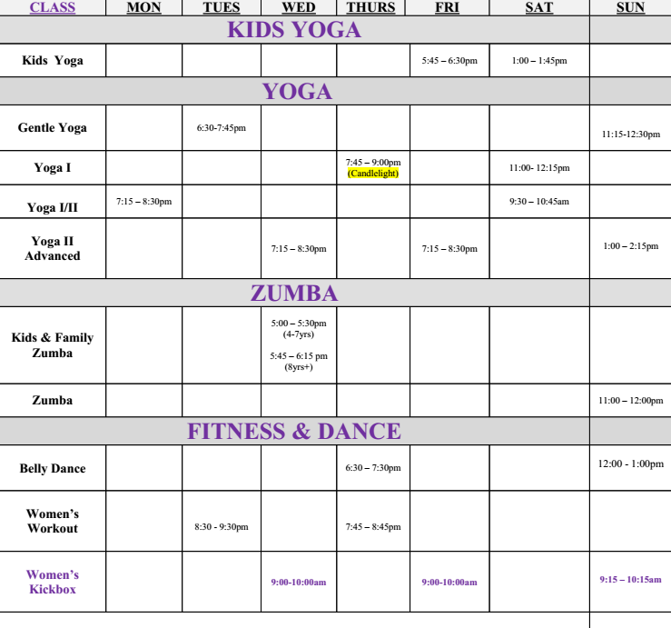 Here is the current schedule at Excel Yoga in the BX! Please visit us soon!